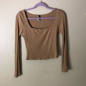 Windsor Camel Square Neck Ribbed Long Sleeve Top